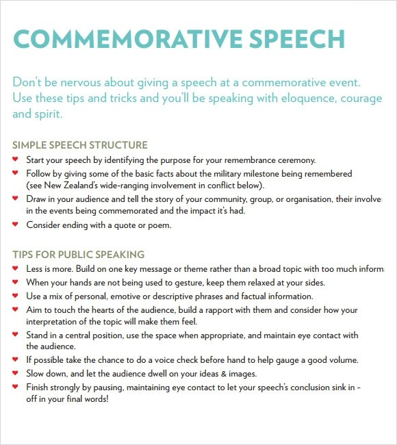 7 Commemorative Speech Examples for Free Download Sample Templates