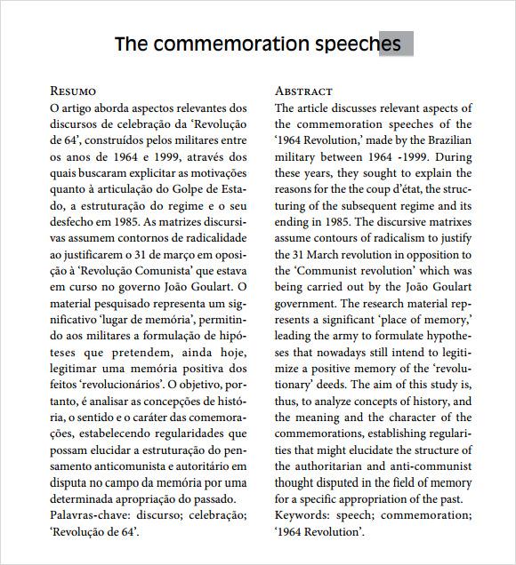 Ceremonial Speech Example Template  NodeCvresumePaasproviderCom