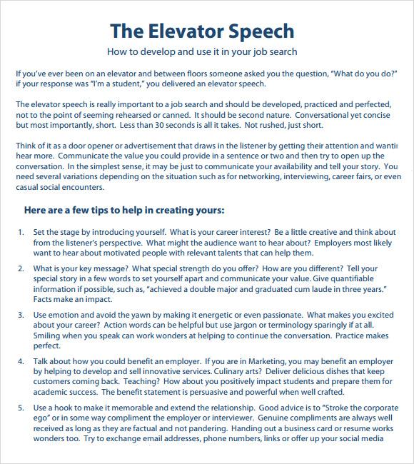 8+ Elevator Speech Samples Sample Templates