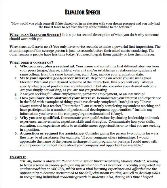 Sample Elevator Speech - 7+ Documents in PDF