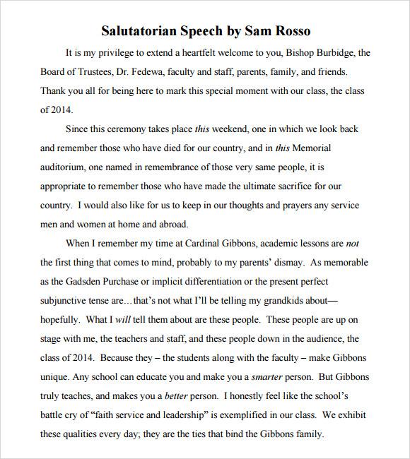 9 Salutatorian Speech Samples Pdf8 Campaign Speech Examples
