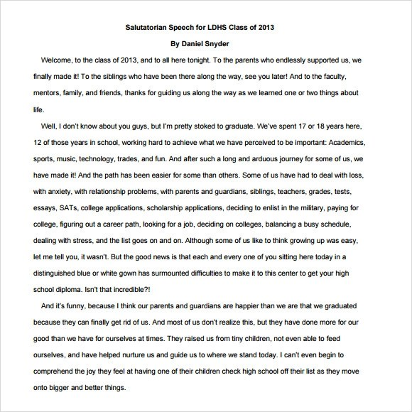 Sample Salutatorian Speech - 9+ Documents in PDF - speech examples