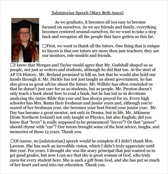 9+ Salutatorian Speech Samples - PDF