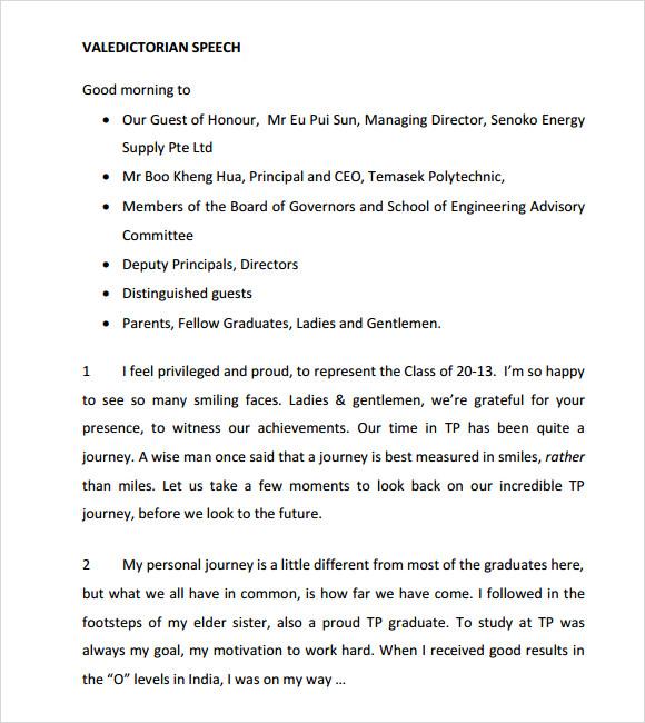 11+ Valedictorian Speech Examples - PDF