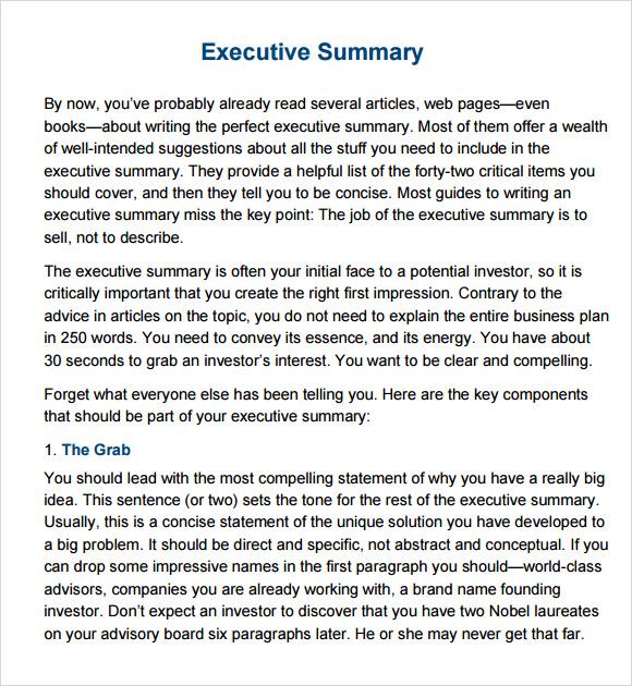 free executive summary template