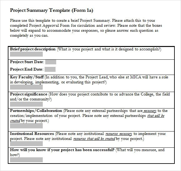 8 Project Summary Templates Free Sample Example - mandegarinfo - project summary report example