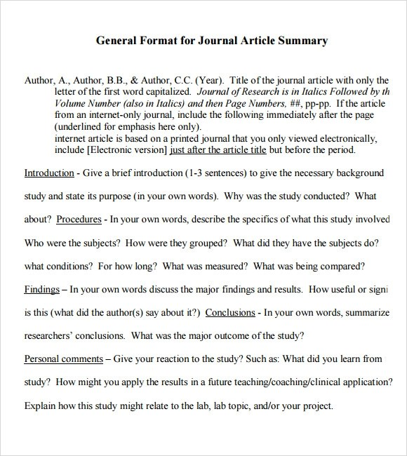 Article Summary Sample - 6+ Documents in PDF