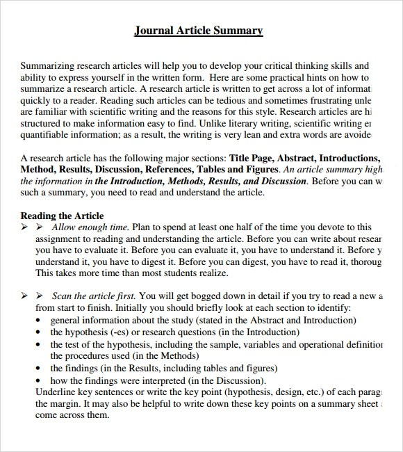 7+ Article Summary Samples Sample Templates - journal paper template