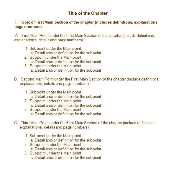 Sample Chapter Summary - 5+ Documents in PDF, Word - book outline template