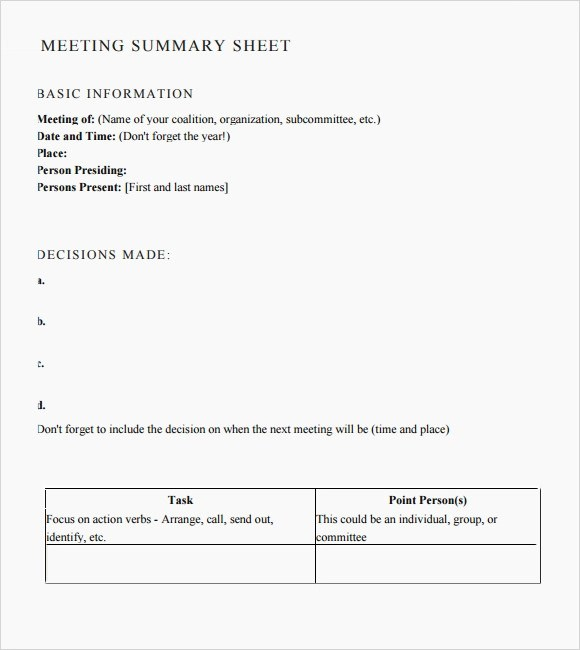 Meeting Summary Template   Meeting Notes Format