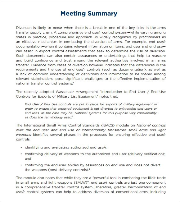 Sample Meeting Summary Template - 7+ Documents in PDF - sample meeting summary template