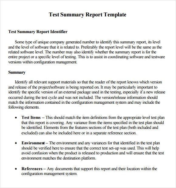 8+ Sample Summary Reports Sample Templates - project summary report example