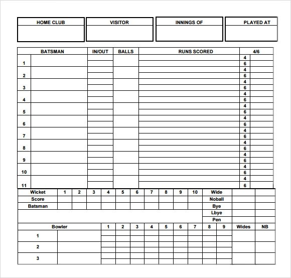 cricket score card format - Ozilalmanoof - sample cricket score sheet