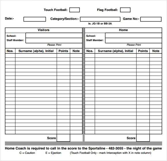 13+ Sample Football Score Sheet Templates Sample Templates - football score sheet template