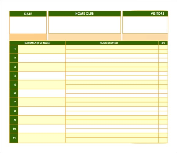 10+ Sample Cricket Score Sheets Sample Templates - sample cricket score sheet