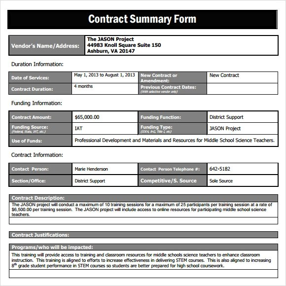 Contract Summary Template Excel  Resume Maker Create