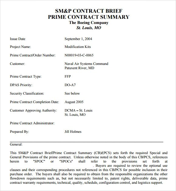11 Contract Summary Templates to Download Sample Templates