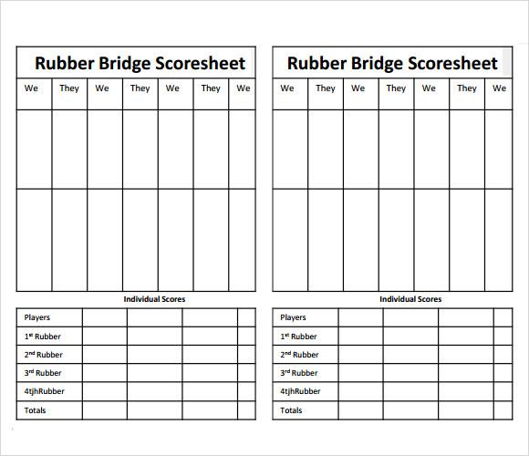 8+ Sample Bridge Score Sheets Sample Templates