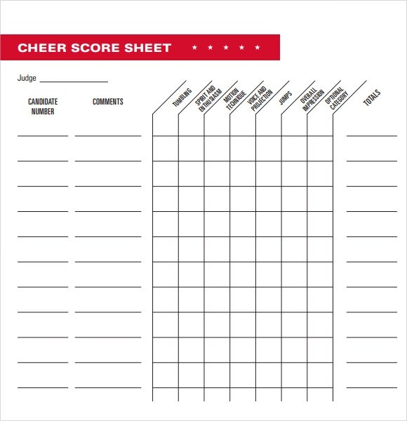 5+ Sample Cheerleading Tryout Score Sheets Sample Templates