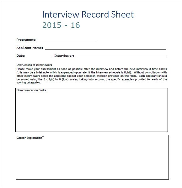 Interview Rating Sheet Template Car Sale Sign Template - interview score sheet template