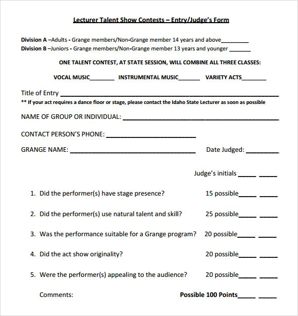 9+ Sample Talent Show Score Sheets Sample Templates - sample talent show score sheet