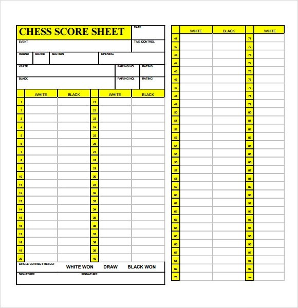 Sample Chess Score Sheet - 8+ Documents in PDF
