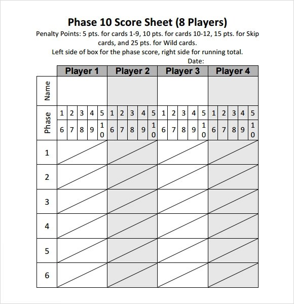 Phase 10 Score Sheet Template cricket score sheet dowload to make - sample phase 10 score sheet template