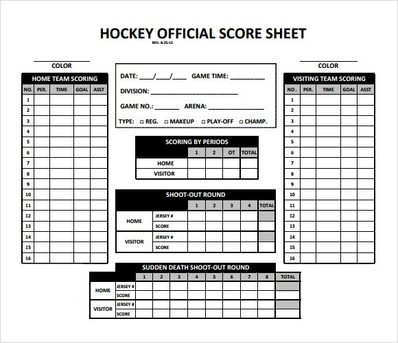 Hockey Score Sheet Euchre Score Card Template Node100cvresumepaasprovider 61
