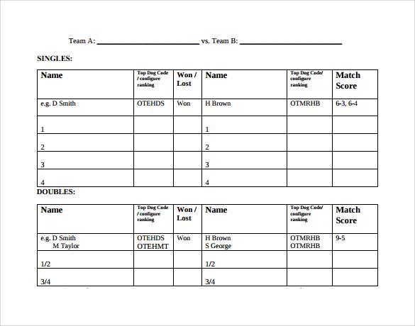 Sample Tennis Score Sheet Template - Design Templates