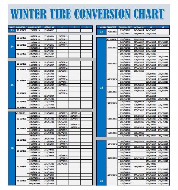 Sample Tire Conversion Chart - 8+ Free Documents Download in PDF