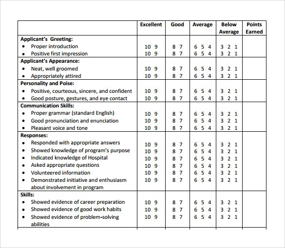 10 Interview Evaluation Forms \u2013 Free Samples , Examples  Format
