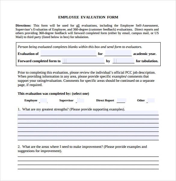 Employee Performance Evaluation Short Form Restaurant Owner Employee Evaluation Form Sample – 10 Free Examples Format