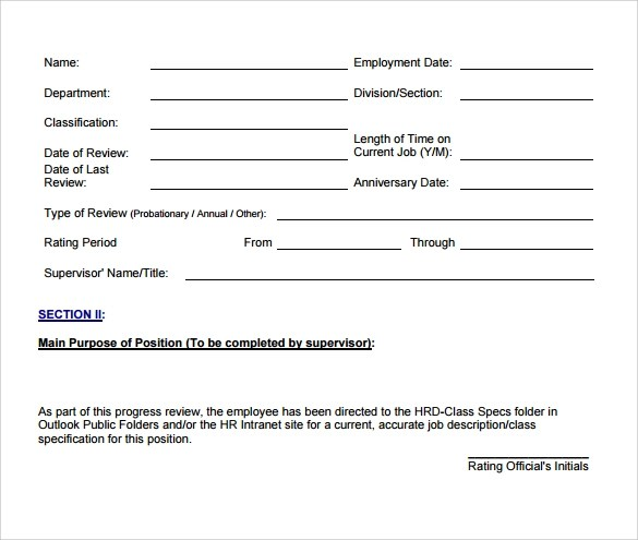 Employee Evaluation Form Sample \u2013 13+ Free Examples , Format