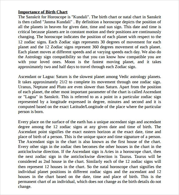 Sample Birth Chart - 6+ Documents in PDF