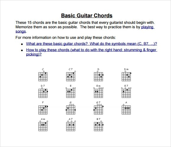 7+ Sample Guitar Chord Charts Sample Templates