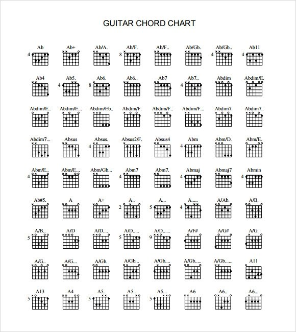 Sample Guitar Chord Chart - 6+ Documents in PDF