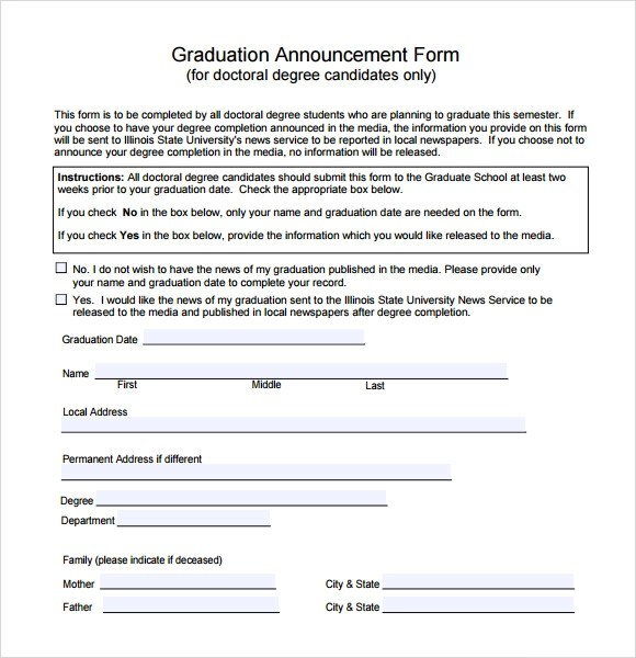 Sample Graduation Announcement Template - 8+ Free Documents in PDF, Word