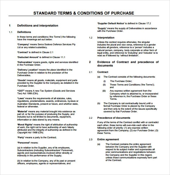 Term And Condition Template u2013 Modern House - sample terms and conditions template