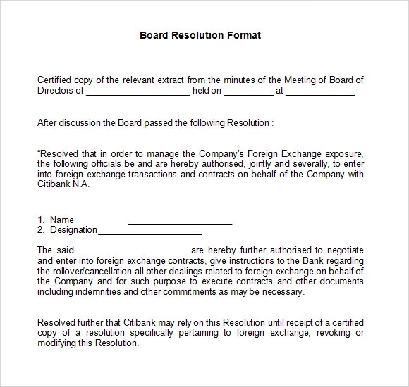 Sample Board Resolution - 5+ Documents in PDF, Word - corporate resolution form