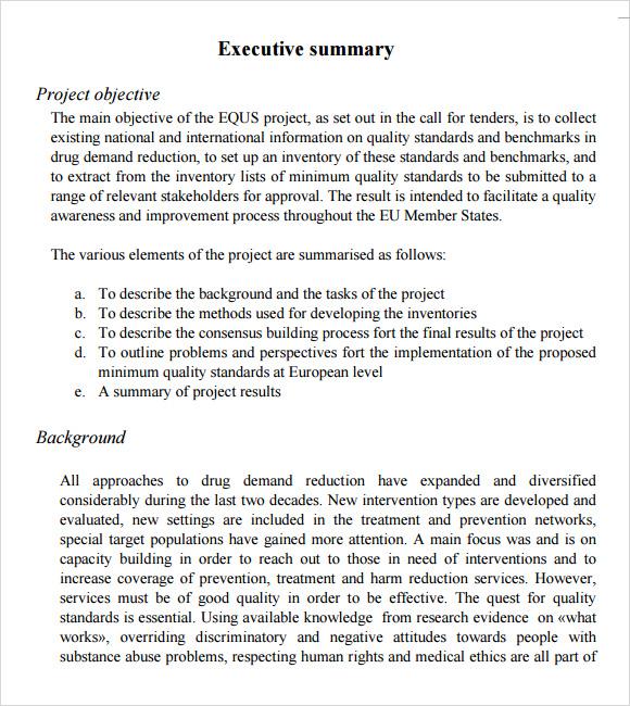 Project Executive Summary Template madebyrichard