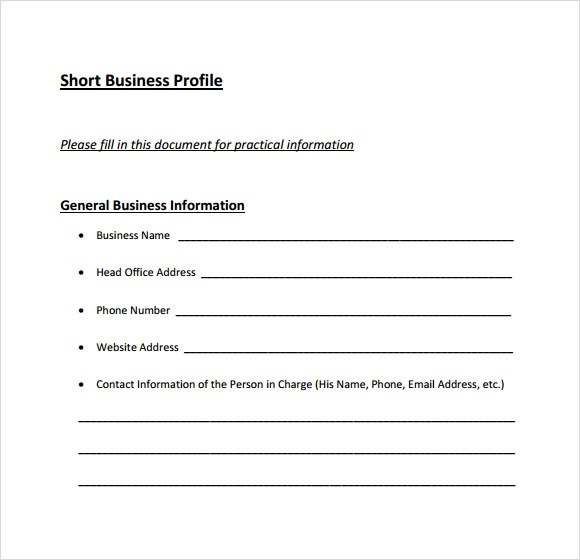 6+ Business Profile Samples \u2013 PDF Sample Templates