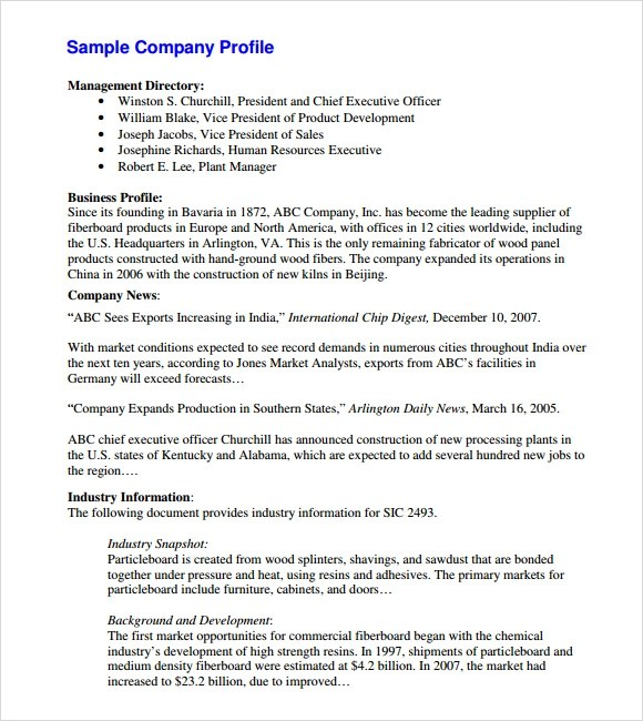 sample business profile template - company profile sample download