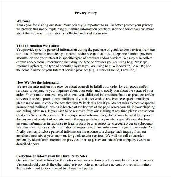 Sample Privacy Policy Sample - 7+ Free Documents in PDF - privacy notice template