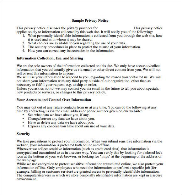 privacy policy sample - Maggilocustdesign