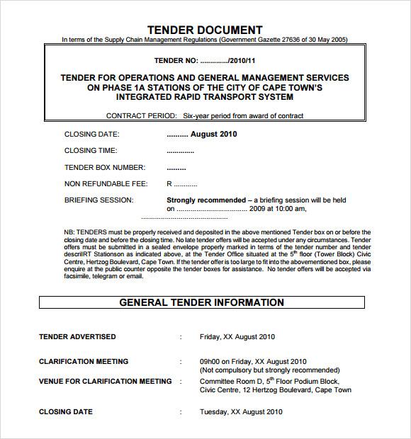 Tender Template Document - tender document template