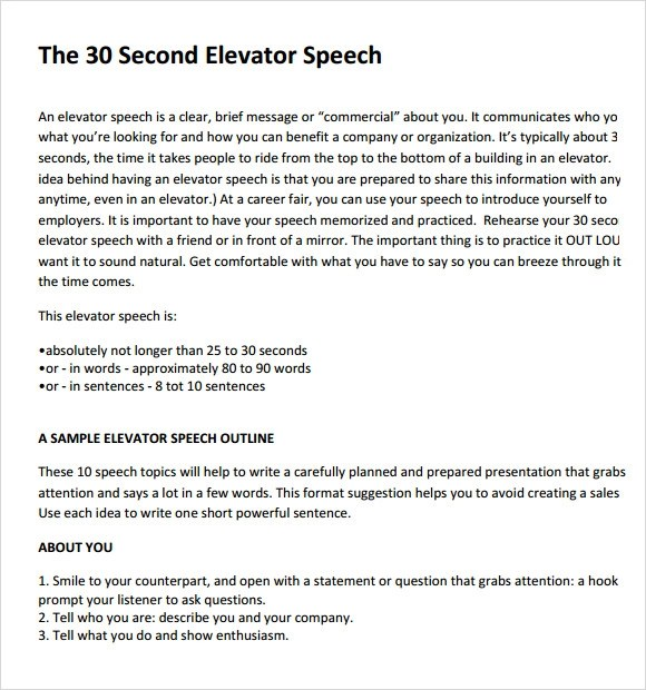 elevator pitch examples templates