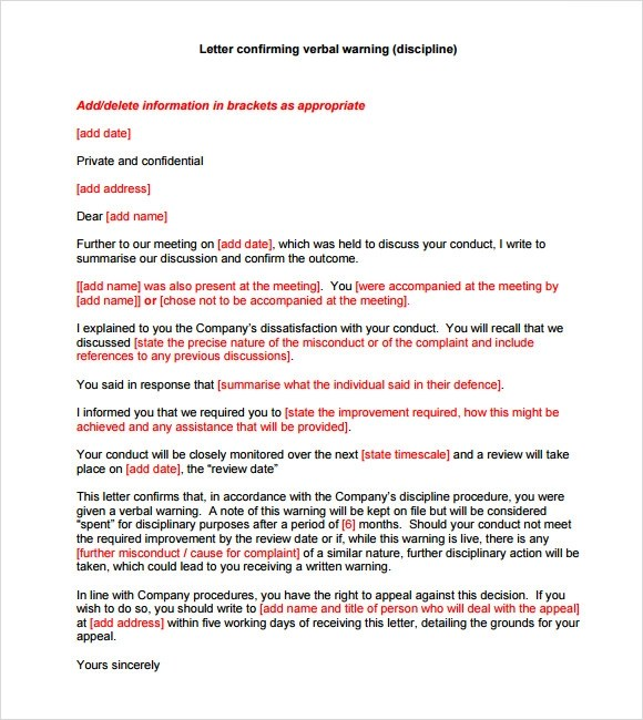 discipline verbal warning letter template free best epo patent