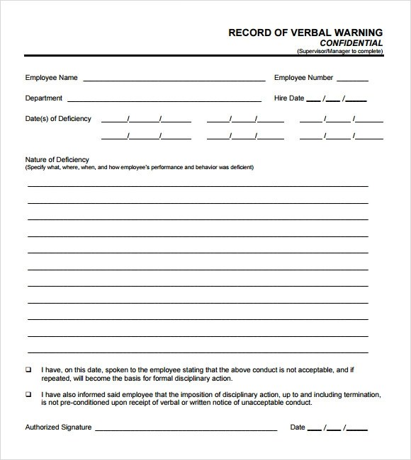 Verbal Warning Form Template