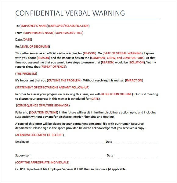 verbal written warning form - Militarybralicious - writing warning letter for employee conduct
