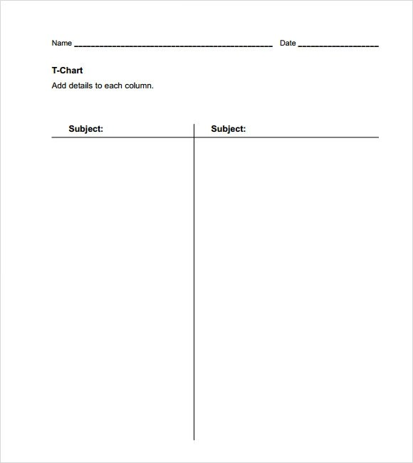 t chart template word - t chart template